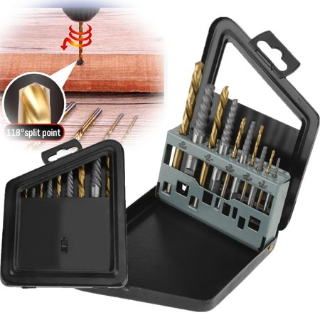 Yosoo 10Pcs Screw Extractor and Left Hand Cobalt Drill Bits Set Bolt Remover Easy Out Kit, Bolt Remover,Screw