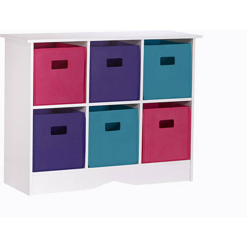 RiverRidge Kids Storage Cabinet with 6 Bins, White and Jewel Tones by Sourcing Solutions