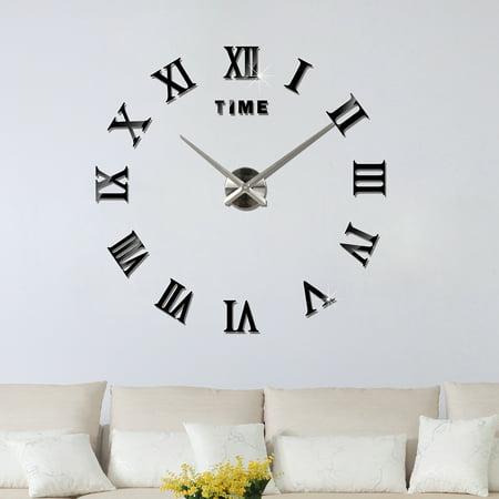 Luxury Diy Wall Clock 3d Roman Numerals Stickers Home Art Modern