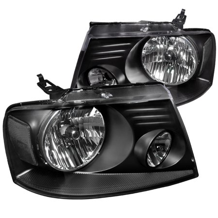 Lumina Euro Headlights - Spec-D Tuning For 2004-2008 Ford F150 Euro Style Headlights Black Pair W/ Clear Reflector 2004 2005 2006 2007 2008 (Left+Right)
