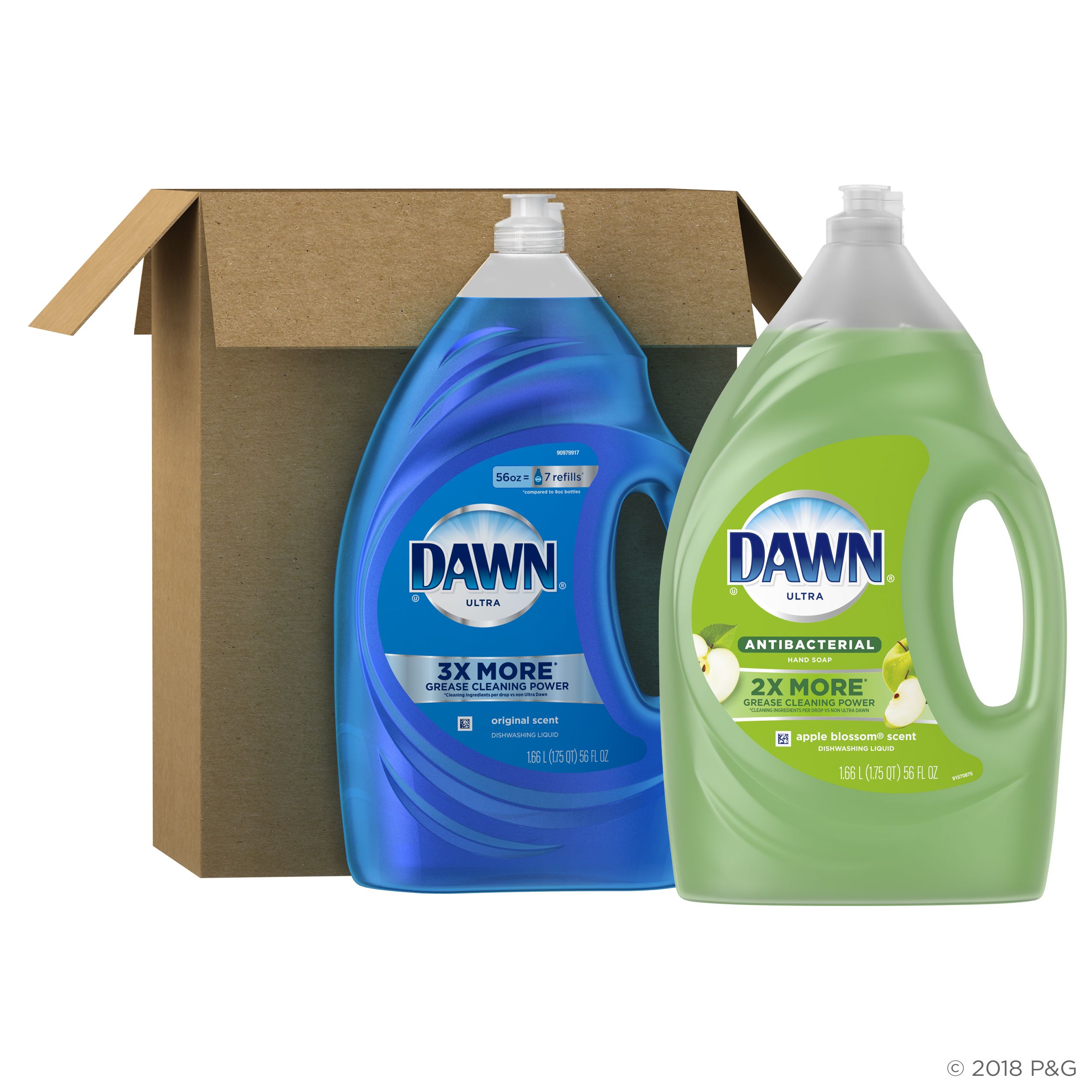Dawn Ultra Antibacterial Dishwashing Liquid, Apple Blossom Scent, 56 fl oz + Dawn Ultra Dishwashing Liquid, Original Scent, 56 fl oz