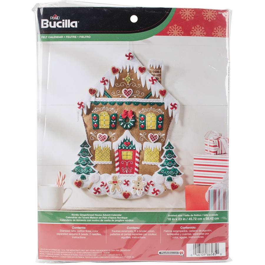 "Nordic Gingerbread House Felt Applique Kit, 18"" x 23"""