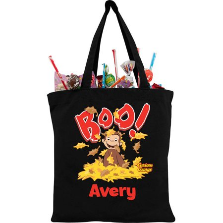 Curious George Y Black Personalized Trick Or Treat Bag
