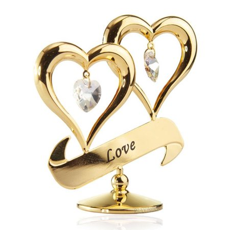 - Matashi Crystal Mothers Day Gift 24K Gold Plated Love Double Heart Ornament Sculpture