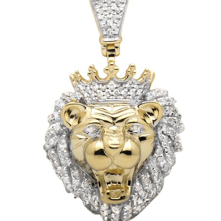 Diamond Crown Charm - 10K Yellow Gold Roaring Lion King Crown 1.25