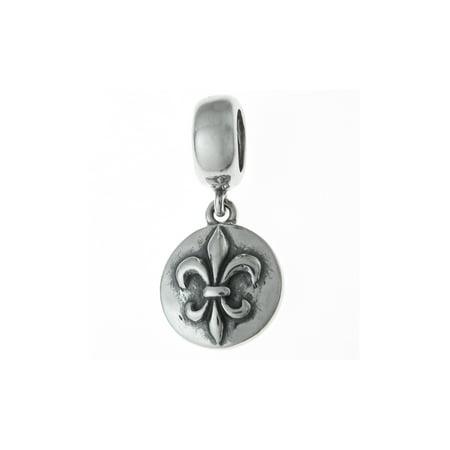 Queenberry Sterling Silver Fleur-de-lis Flower Scout Badge Dangle European Bead Charm Fits Pandora Crystal Fleur De Lis Charm