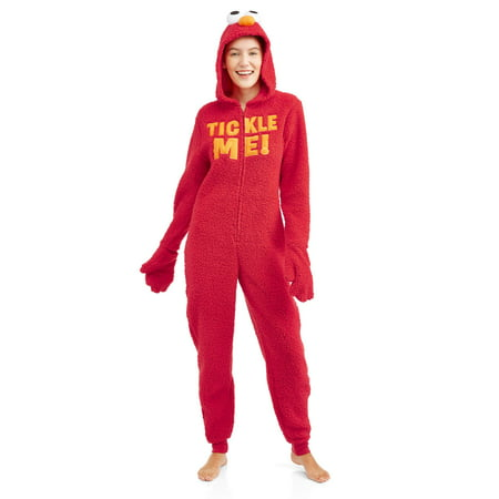 Sesame Street Women's and Women's Plus Elmo Sherpa Union - Elmo Adult Onesie