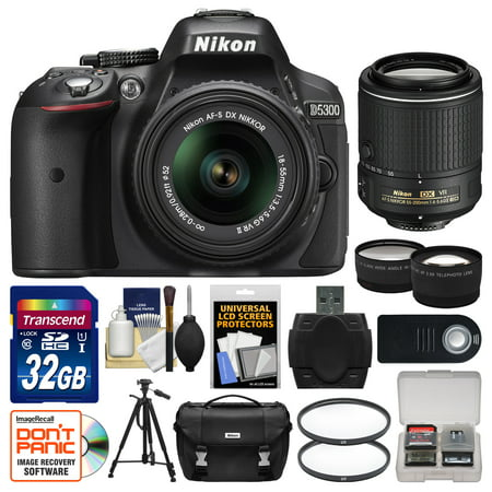 Nikon D5300 Digital SLR Camera & 18-55mm VR DX II AF-S Lens (Black) - Factory Refurbished with 55-200mm VR Zoom Lens + 32GB Card + Case + Tripod + Tele/Wide Lens Kit