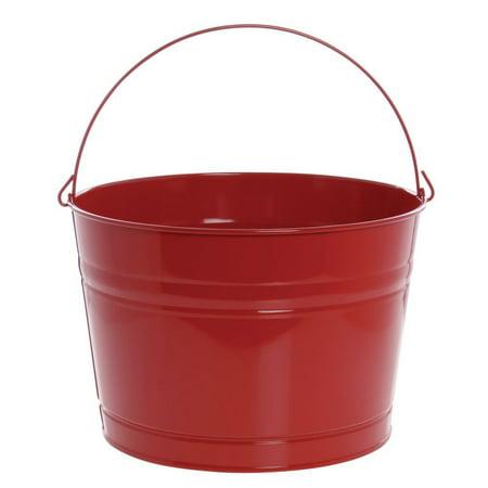 HUBERT Beverage Display Tub Round Red Powder-Coated Metal - 13 1/2