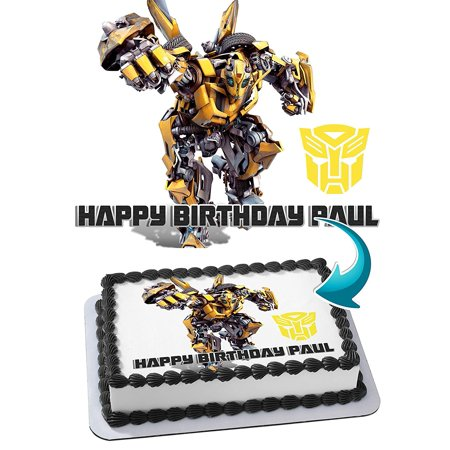Transformers Bumblebee Edible Cake Image Personalized Toppers Icing Sugar Paper A4 Sheet Edible Frosting Photo Cake Topper 1/4