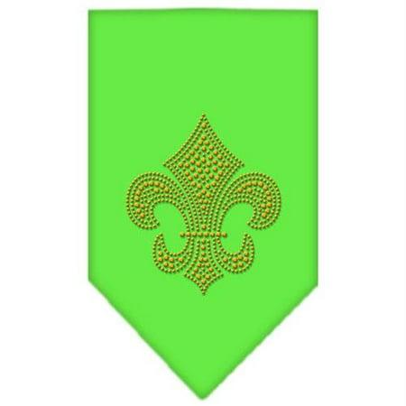 Fleur De Lis Gold Rhinestone Bandana Lime Green Small - Gold Bandanas
