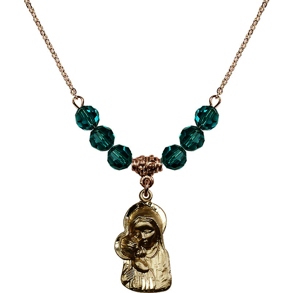 18-Inch Hamilton Gold Plated Necklace with 6mm Blue December Birth Month Stone Beads and Madonna & Child Charm by