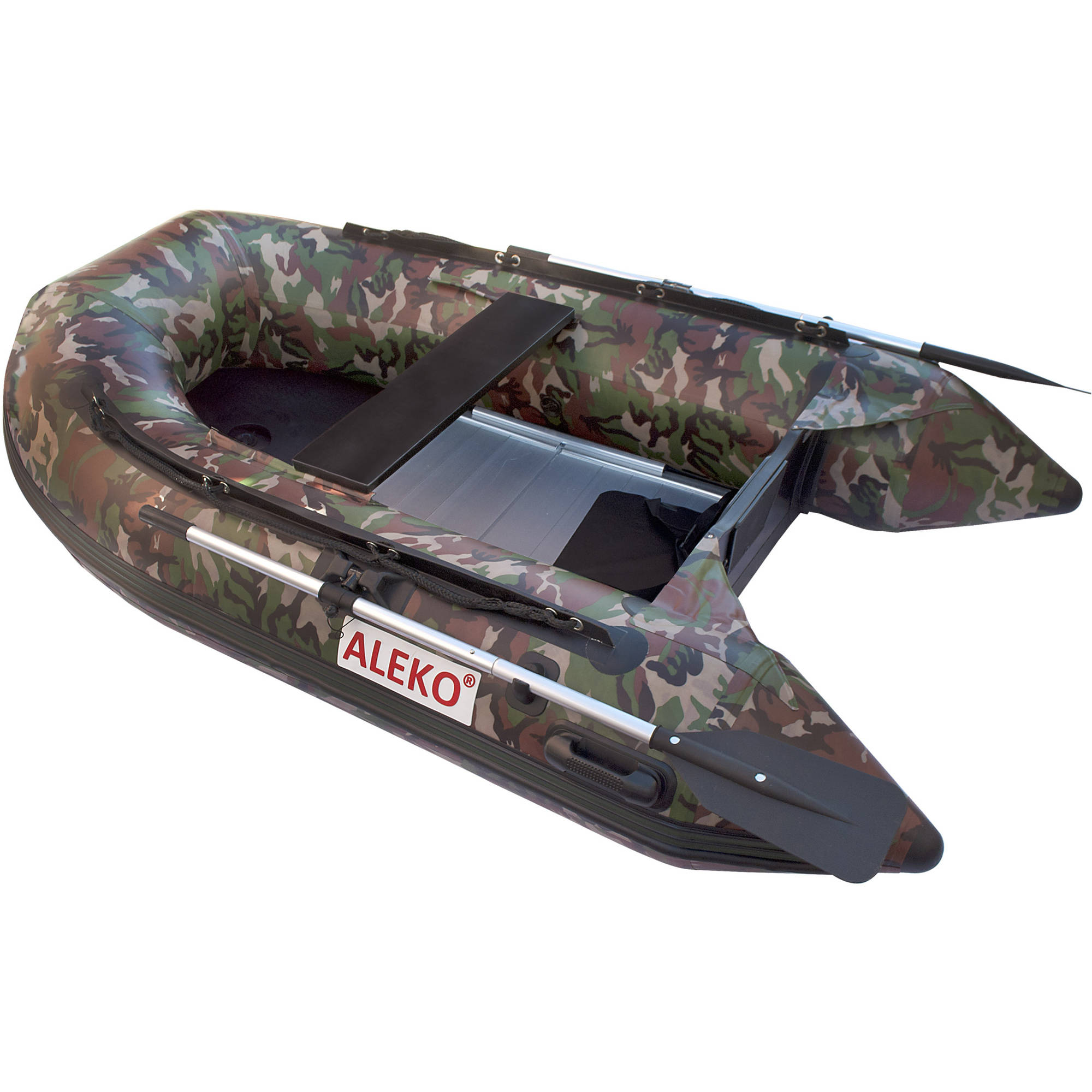 ALEKO Inflatable Boat - Aluminum Floor - 3-Person - 8.4 Feet - Camouflage