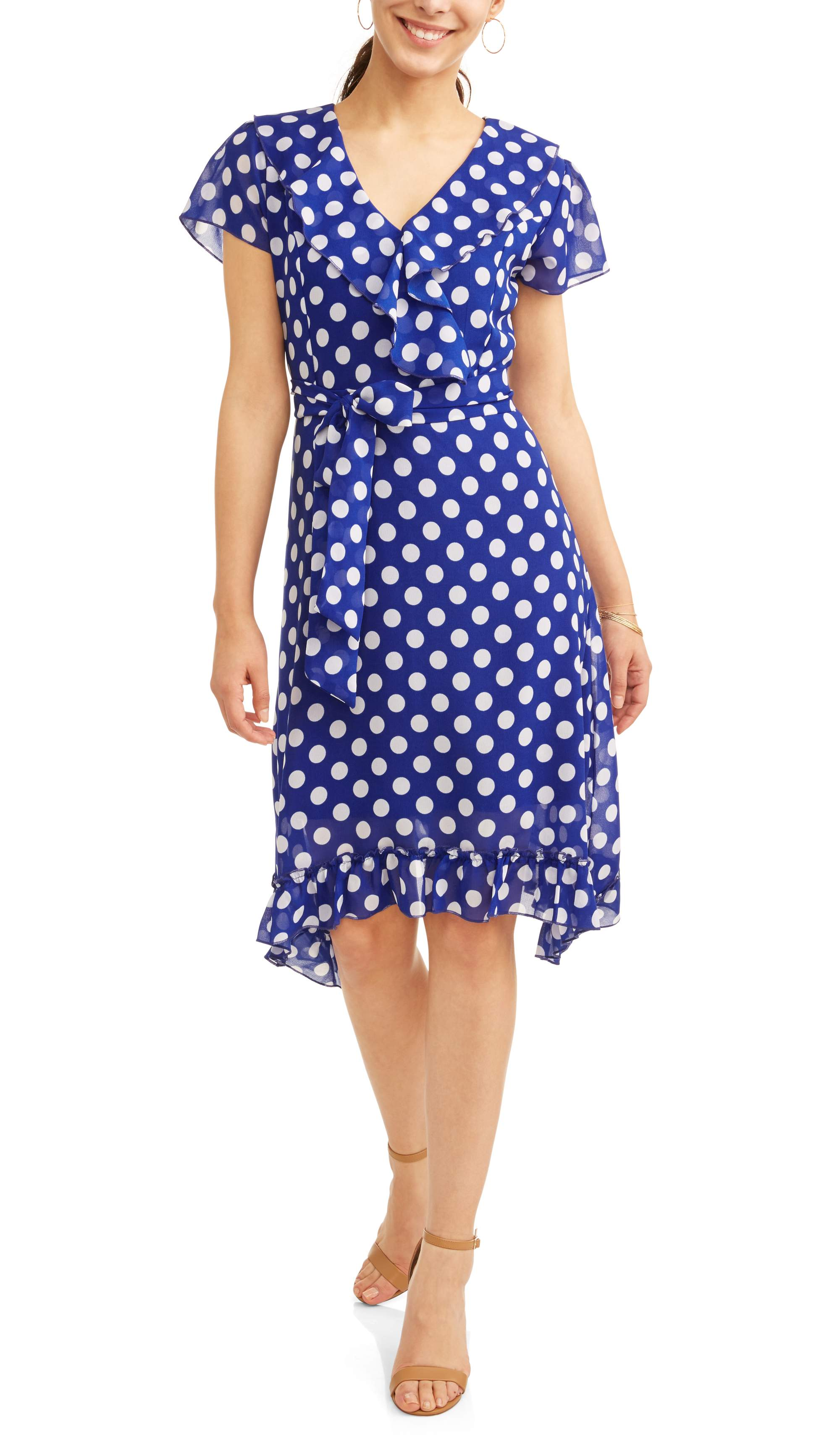 Jaquline Design Studio Women's Ruffle Wrap Polka Dot Dress by Generic