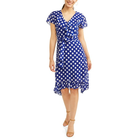 Women's Ruffle Wrap Polka Dot Dress