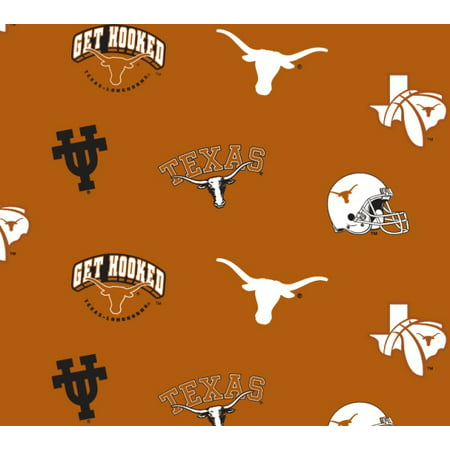 Texas Longhorns Fabric (University of Texas Fabric Fine Cotton Classic School Colored Ground Allover Design-Sold by the Yard)
