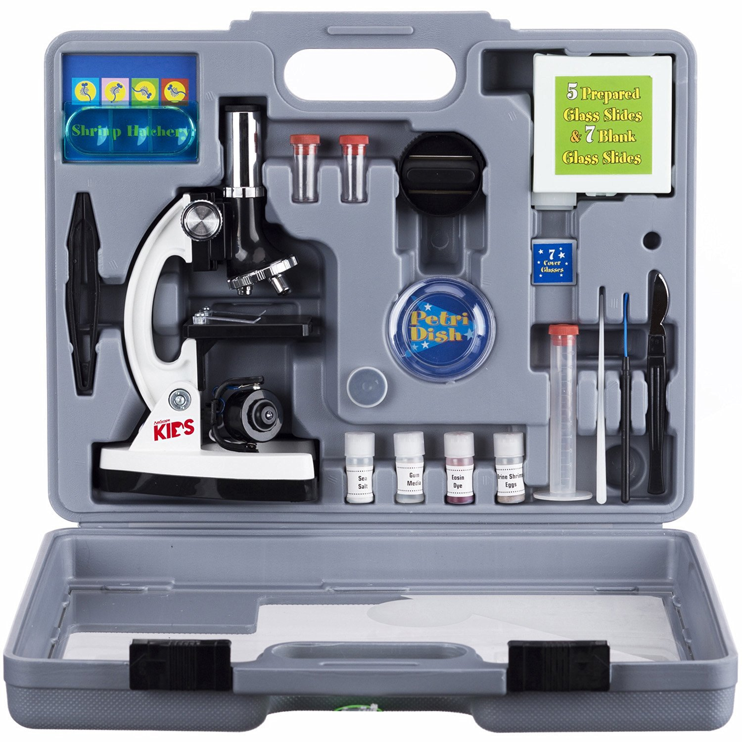 AMSCOPE-KIDS M30-ABS-KT2-W Beginner Microscope Kit, LED and Mirror Illumination, 300X, 600x, and 1200x Magnification, Includes 5
