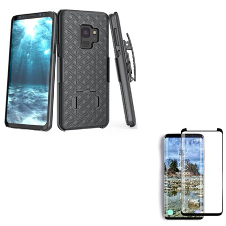 Galaxy S9 Holster Case Belt Clip w Tempered Glass Screen Protector - Swivel Cover Kickstand, 5D Touch Curved Edge Full Cover for Samsung Galaxy S9 Set Curve Kicks