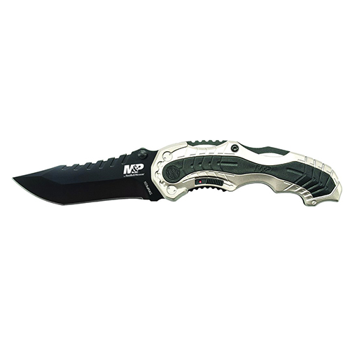 Smith & Wesson by BTI Tools M&P M.A.G.I.C. Assist Liner Lock Folding Knife, Clip Point Blade, Champgne/Black, Clam