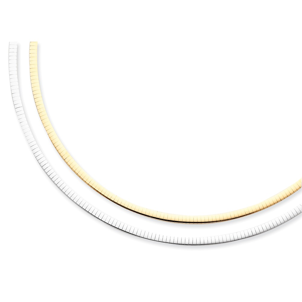 14k Two Tone Gold 16in Lightweight Reversible 4mm Omega Necklace