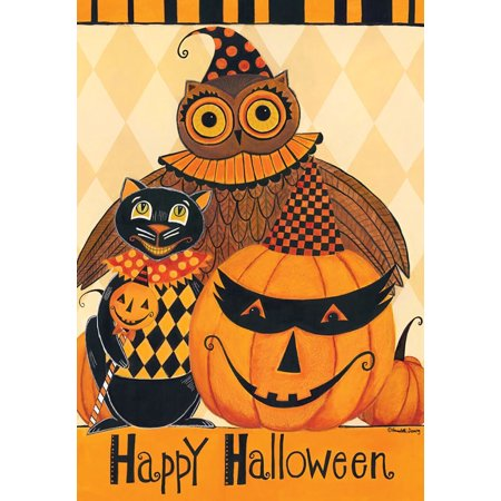 halloween party primitive garden flag owl black cat jack o'lantern 12.5