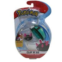 Wicked Cool Toys - Pokemon Clip 'N' Go Poke Ball & Figure - PYUKUMUKU w/ Net Ball (3 inch)