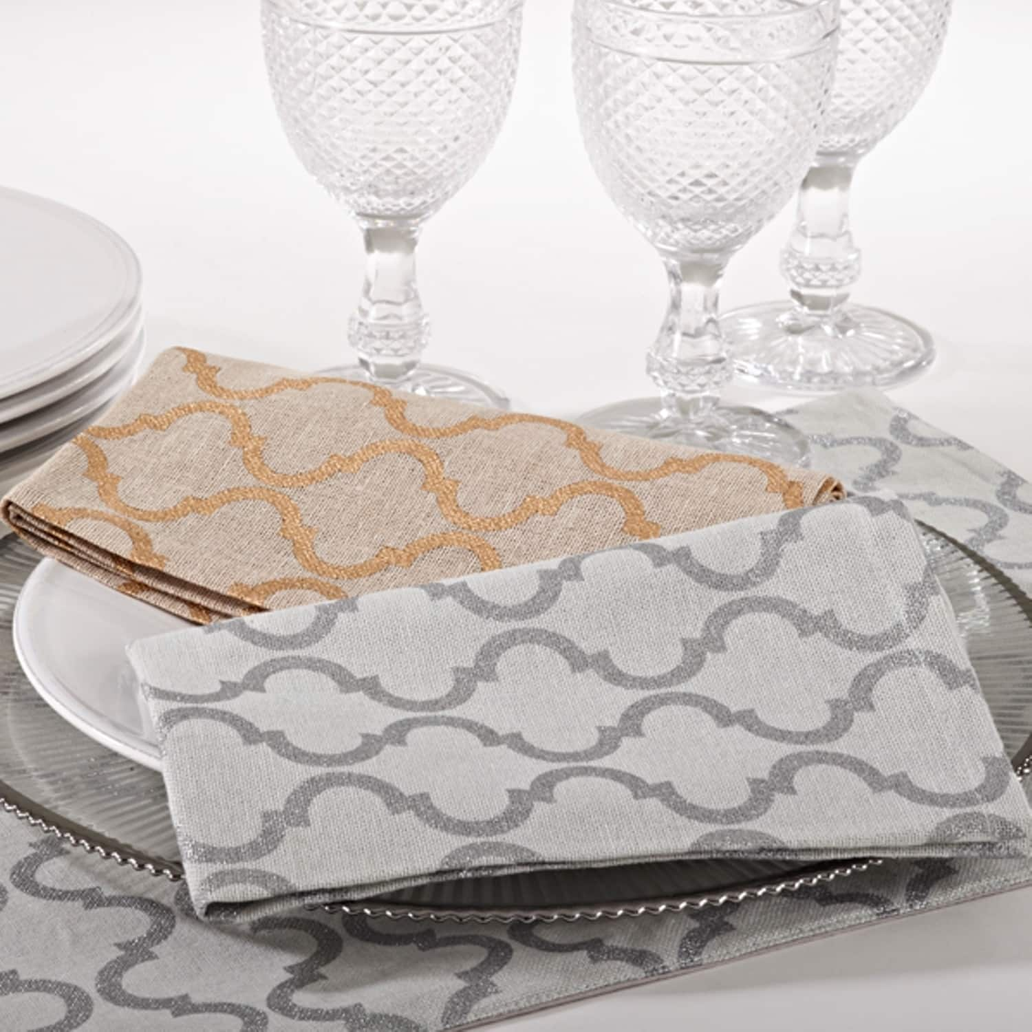 Saro Printed Moroccan Design Napkin (set of 4)