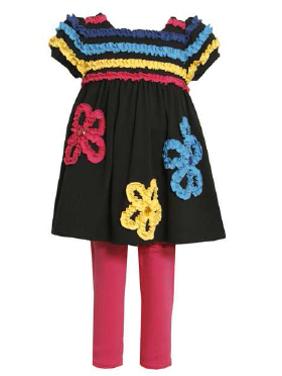 Product Image Girls: Newborn Black Knit Ruched Flower Legging Set 24 months