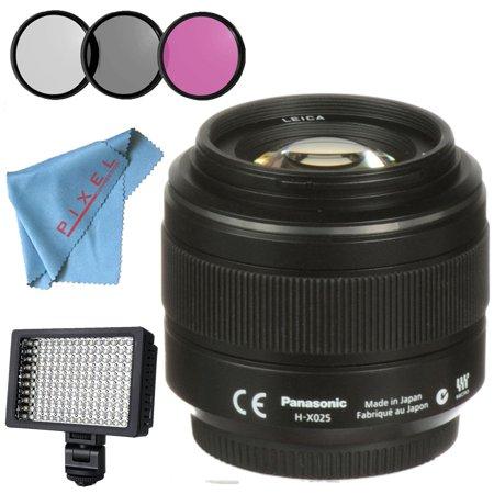 Panasonic Leica DG Summilux 25mm f/1.4 ASPH. Lens + 46mm 3 Piece Filter Kit + Professional 160 LED Video Light Studio Series + Fibercloth Bundle