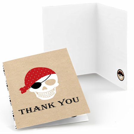 Beware of Pirates - Pirate Birthday & Halloween Party Thank You Cards (8 count)