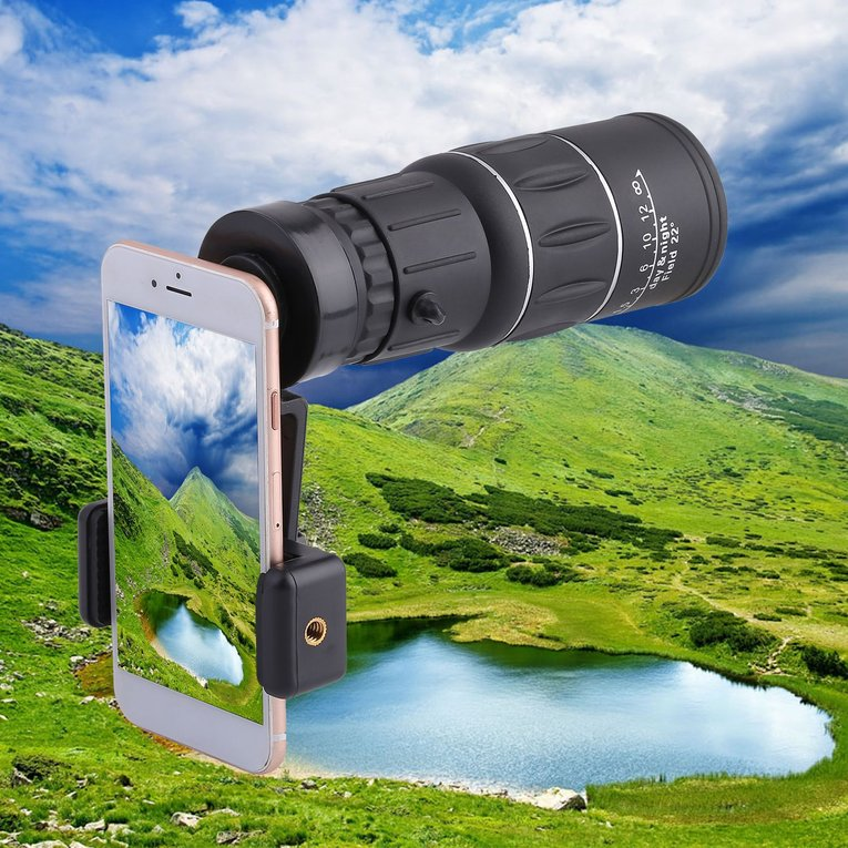 Portable 16X52 Phone Camera Lens Telescope Monocular + Universal Phone Holder For Mobile Phone Outdoor Travel Hiking... by Generic