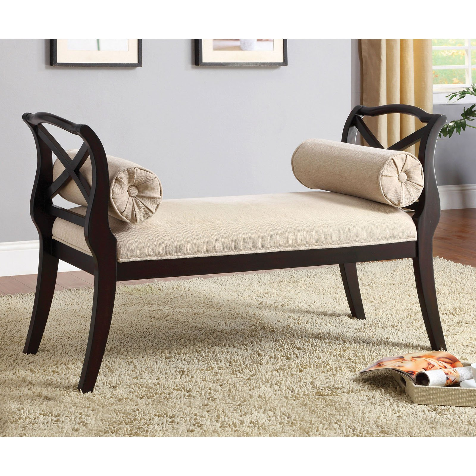 Furniture of America Empress Ivory Upholstered Bench