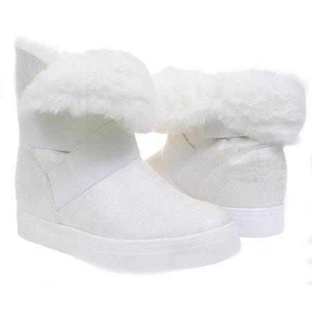 Skimmer 2 Slip - White Shimmer Boots Fur Vegan Women's Mid-Calf Winter Slip On - 6