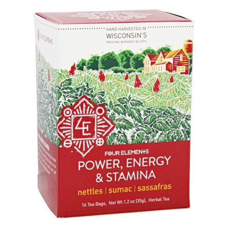 Four Elements Herbals - Organic Herbal Tea Power, Energy and Stamina - 16 Tea