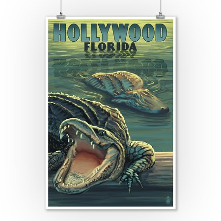Hollywood, Florida - Alligators - Lantern Press Poster (9x12 Art Print, Wall Decor Travel Poster) - Hollywood Decor