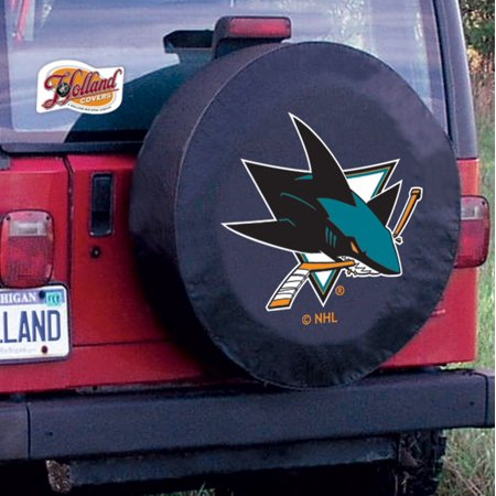 San Jose Tire Cover with Sharks Logo on Black Vinyl Size: A - 34 x 8