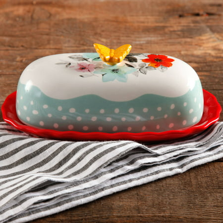 The Pioneer Woman Flea Market Decorated Floral 6.4″ Butter Dish Only $4.88