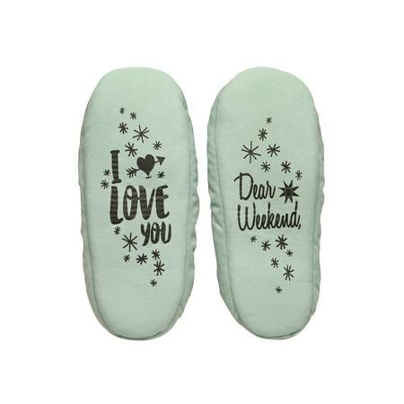 (Faceplant Dreams Women's Dear Weekend, I Love You Slippers- Fleece Lined Booties)
