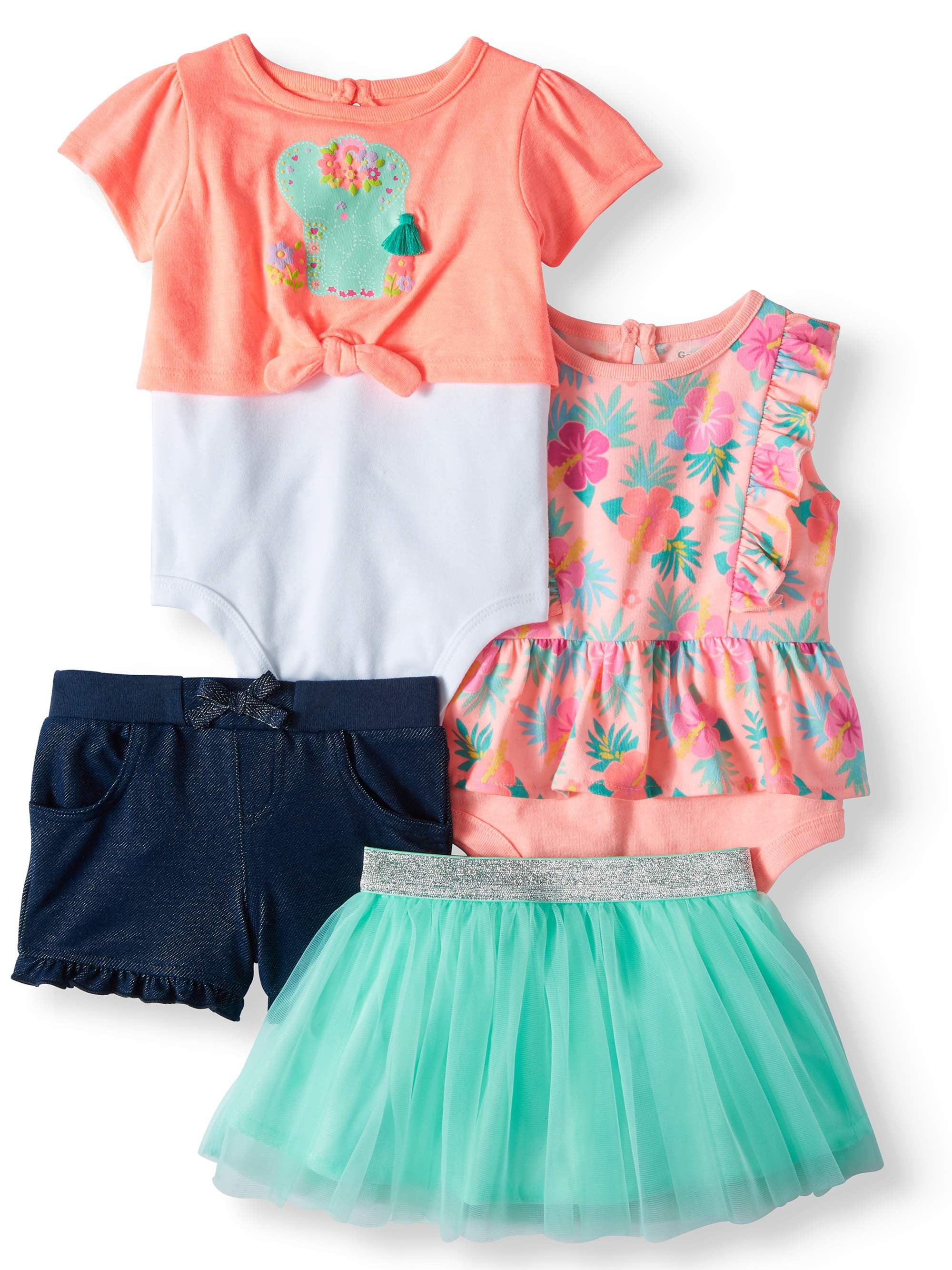 Print Peplum Bodysuit, 2fer Tie-Front Bodysuit, Shorts & Tutu, 4pc Outfit Set (Baby Girls)