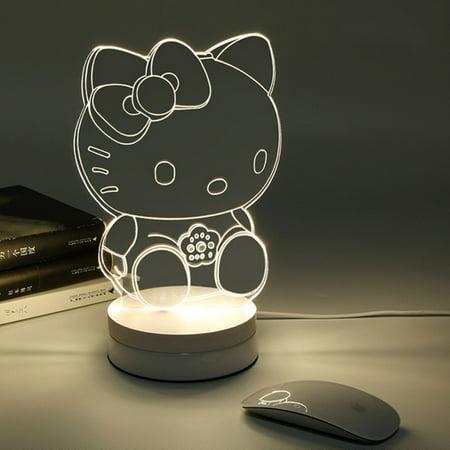 VicTsing Touch LED 3D Illuminated Lamp Abstraction Optical Illusion USB Desk Night Light (Kitty)