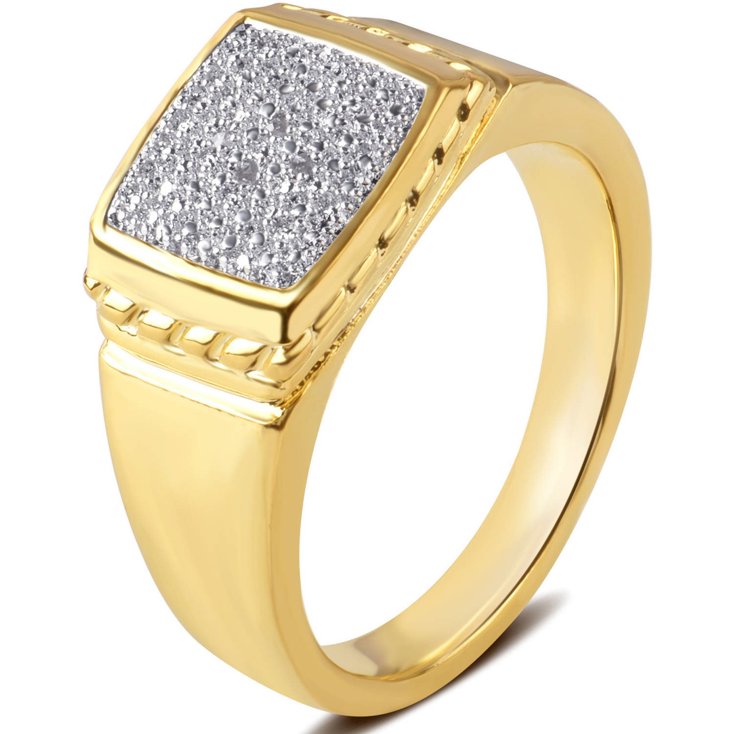 52916c33f9ae9 Diamond Accent 14kt Gold Flash Plated Brass Men's Ring