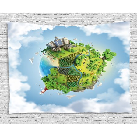 marvelous blue sky bedroom country styl | World Tapestry, Cartoon Style Globe with Greenery Peaceful ...
