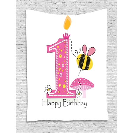 1st Birthday Decorations Tapestry, Cartoon Like Image with Bees ...