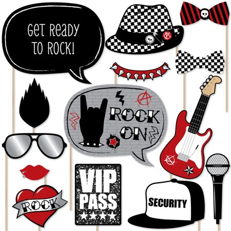 Party Like a Rockstar - Photo Booth Props Kit - 20 Count (Rockstar Party Ideas)