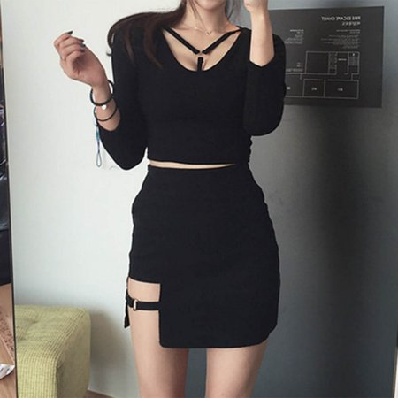 EFINNY Sexy Women High Waist Asymmetrical Bodycon Slim Mini Skirt Party Club