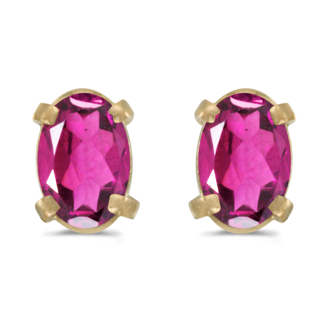 14k Yellow Gold Oval Pink Topaz Earrings by