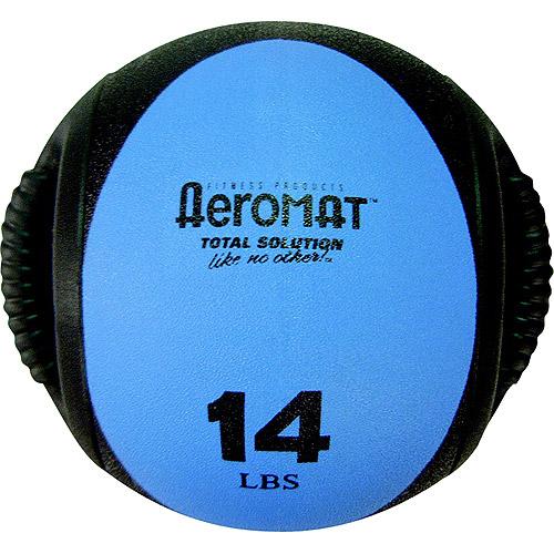 "Sportime Aeromat Hard Rubber Dual Grip Power Medicine Ball, 9"", Blue/Black, 14 lb"