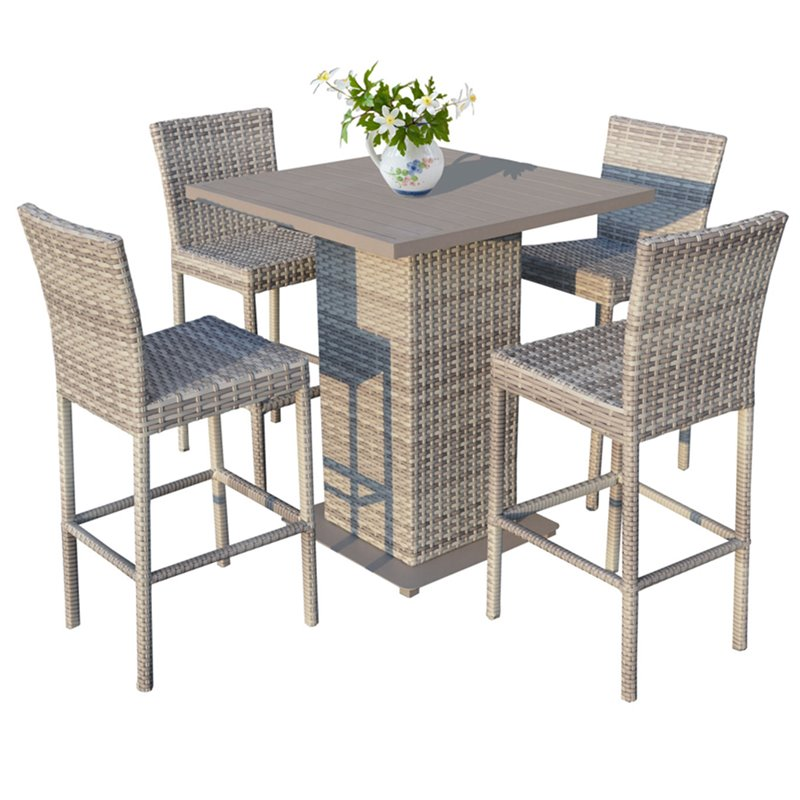 TK Classics Fairmont All-Weather Wicker 5 Piece Patio Pub Table Set by TK Classics