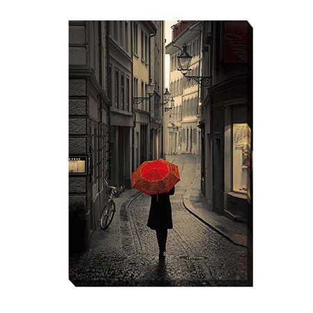 Red Rain by Stefano Corso Premium Gallery-Wrapped Canvas Giclee Art - Ready-to-Hang, 24 x 36 x 1.5 in. - image 1 de 1