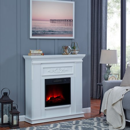 Bold Flame 38 inch Wall/Corner Electric Fireplace in White ()